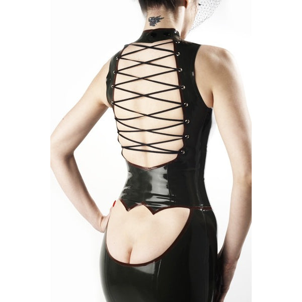 rubber gown by vex clothing derriere dress vex inc