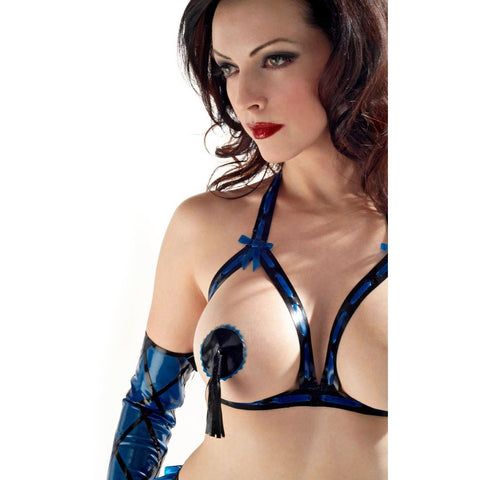 Latex rubber tassel nipple cover pasite Worn by Emily Marilyn