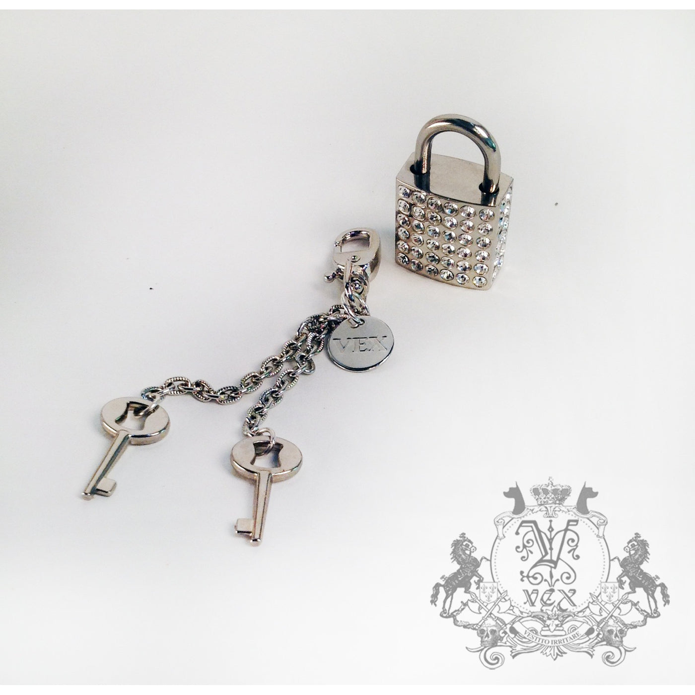 Rhinestone Lock & Key Set - Vex Inc. | Latex Clothing