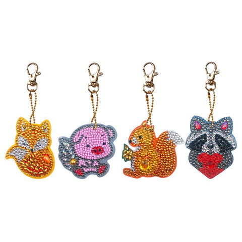 3pcs DIY Full Special Shaped Diamond Painting Animals Heart Keyring Keychains
