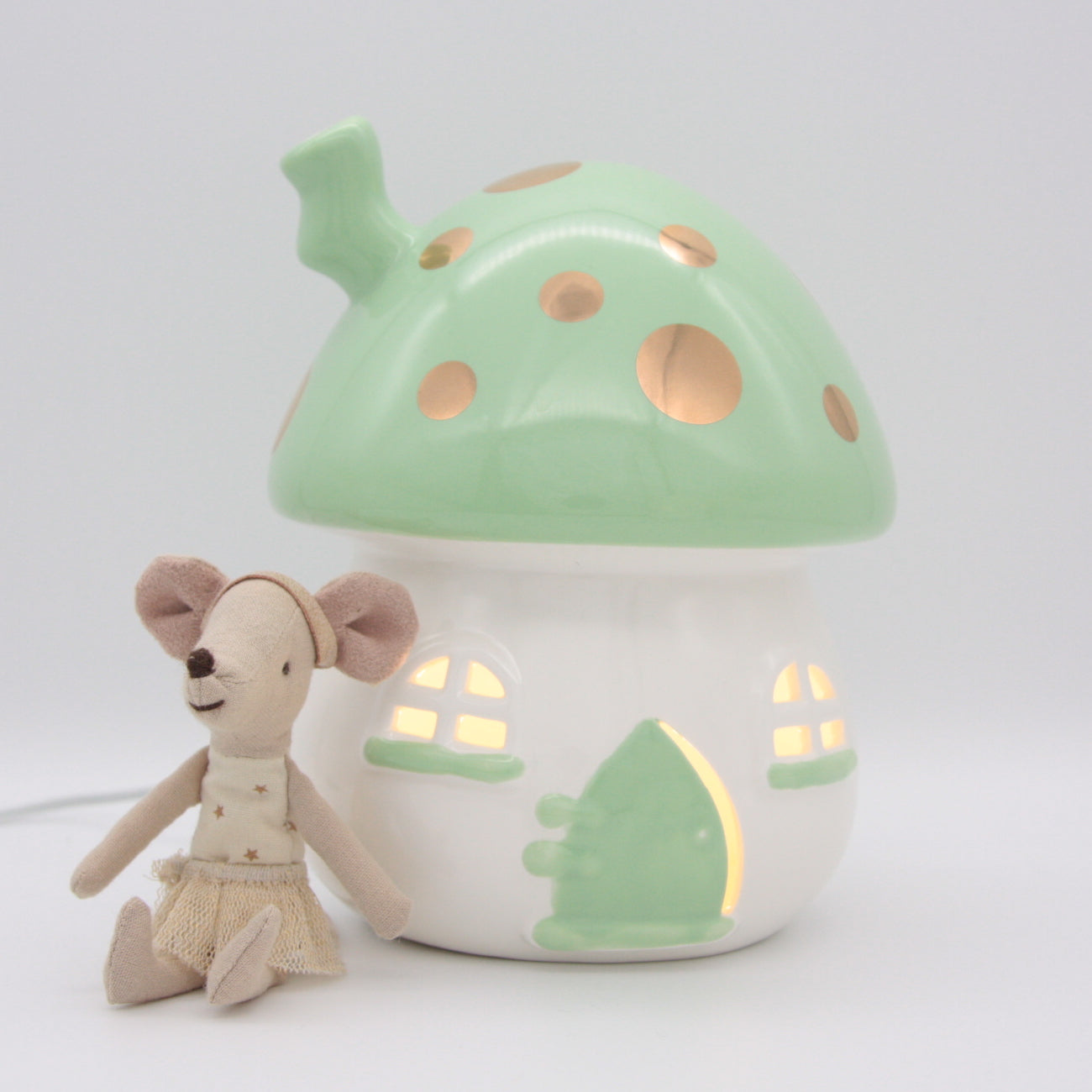 Little Belle Nightlight - Mushroom - Mint and Gold