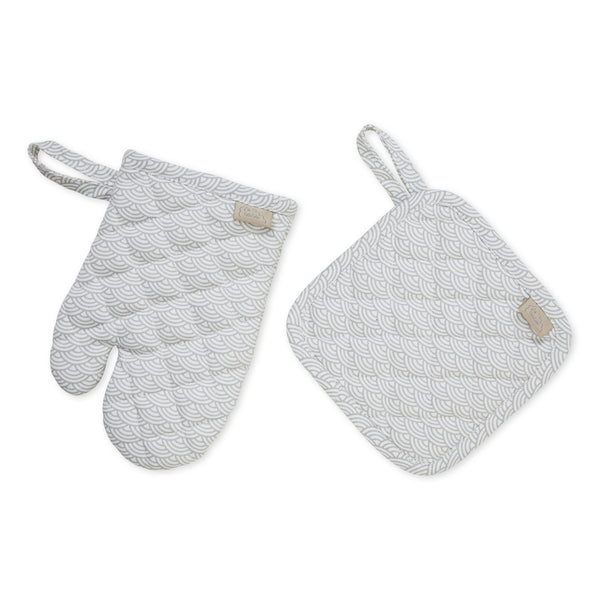 Kids Oven Glove & Pot Holder Set - Grey Wave
