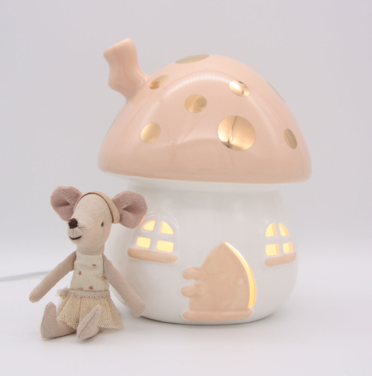 Little Belle Nightlight - Mushroom - Peach and Gold