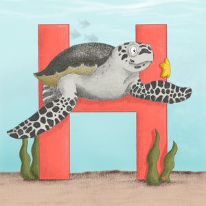 Hawksbill Turtle Square Unframed Art Print
