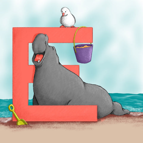 Elephant Seal Square Unframed Art Print