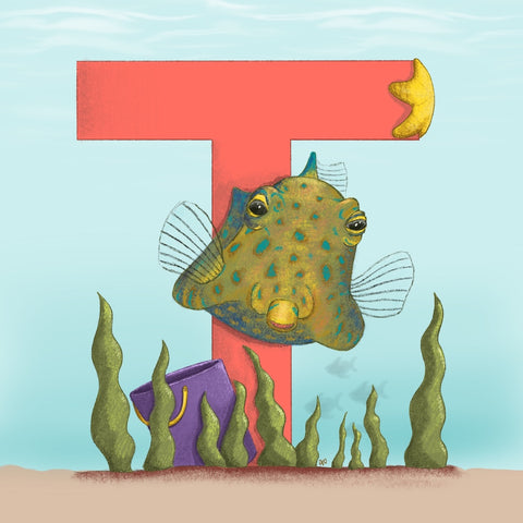 Thornback Cowfish Square Unframed Art Print