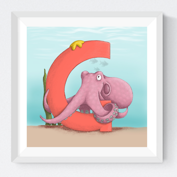 Giant Pacific Octopus Square Unframed Art Print