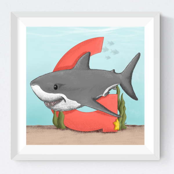 Great White Shark Square Unframed Art Print
