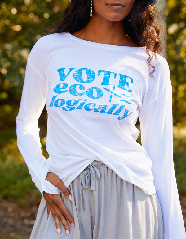 "Kate ""Vote Ecologically"" Long Sleeve Tee With Thumbholes - Yes And Apparel"