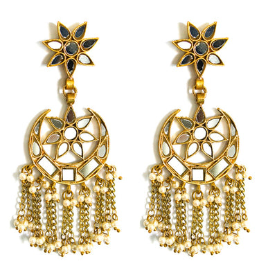 Star and Moon gold Fringe Earrings