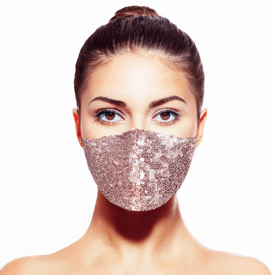 Sequin Mask- Shiny Rose Gold