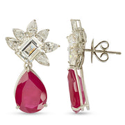 Rhodium Plated Hydro Rubies Red Pineapple