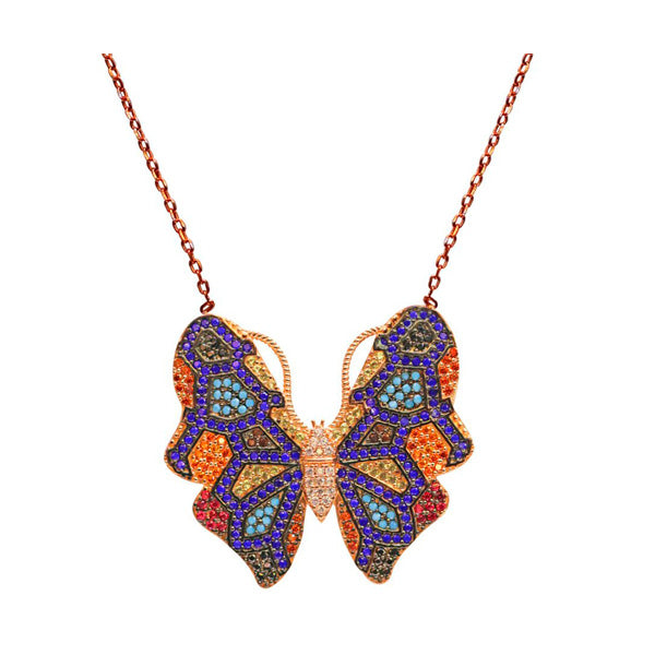Rose Gold Multicolour Butterfly Necklace