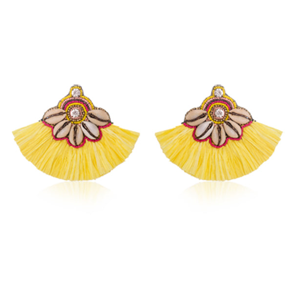 Tassel Tribe Cowrie Shell in Yellow