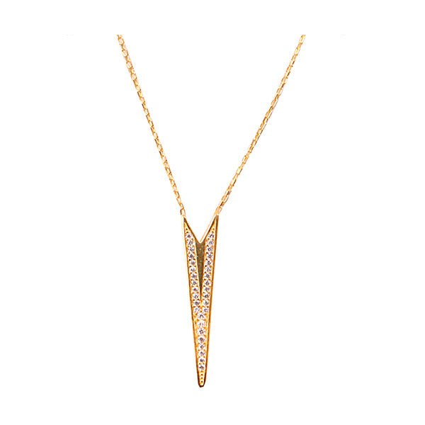 Yellow Gold V-Shaped Necklace