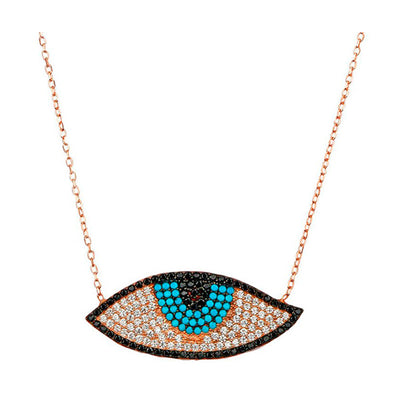 Rose Gold Large Evil Eye Necklace