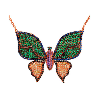 Rose Gold Green and Gold Butterfly Necklace