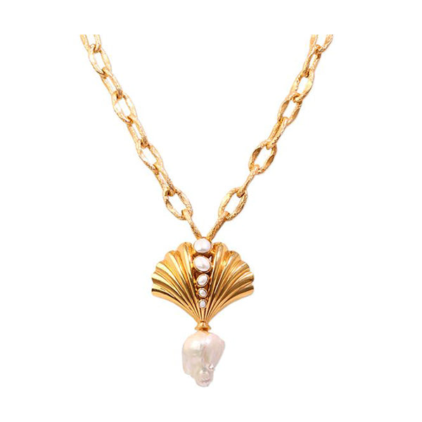 Yellow Gold Roma Seashell with Pearls