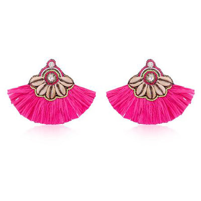 Tassel Tribe Cowrie Shell in Pink