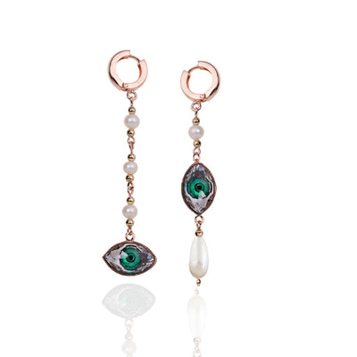 Emerald Evil Eye Pearl Drops