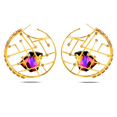 Yellow Gold Multi-Coloured Kira Hoops