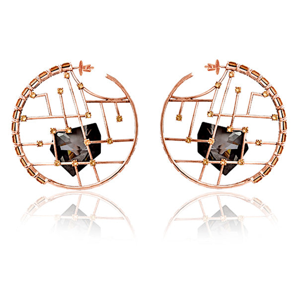 Rose Gold in Dark Grey Kira Hoops