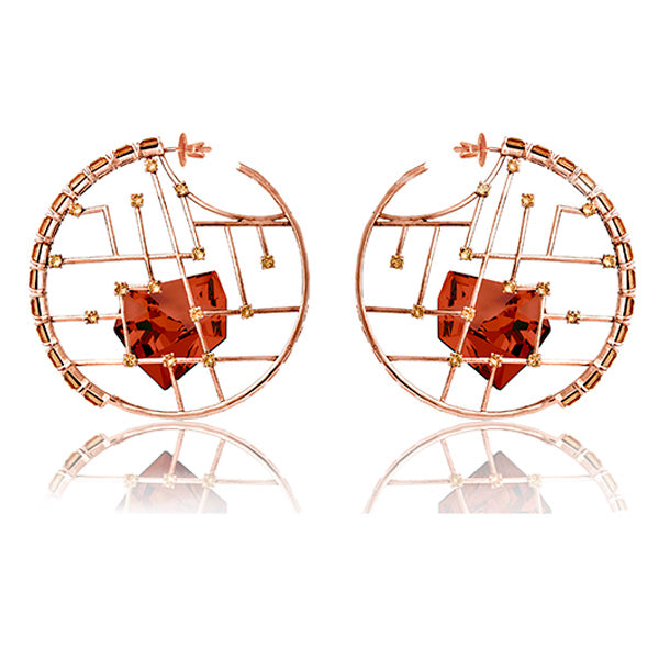 Rose Gold Red Kira Hoops