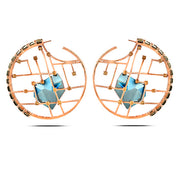 Rose Gold Blue Kira Hoops