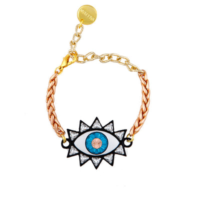 Rose Gold Black Trim Evil Eye Bracelet