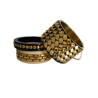 Interchain Stackable Bangles in Gold