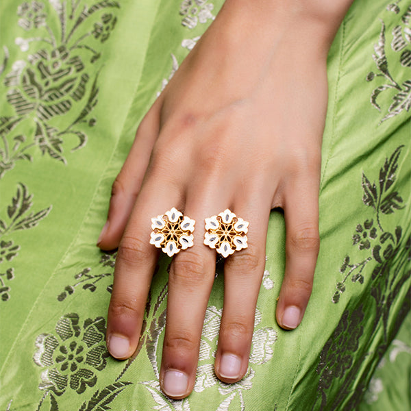 White and Black Enamel Boho Floral White Ring