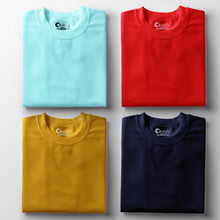 Load image into Gallery viewer, Cool Mint Red Navy Blue Mustard Yellow Half-Sleeve T-Shirt Combo (Pack Of 4)