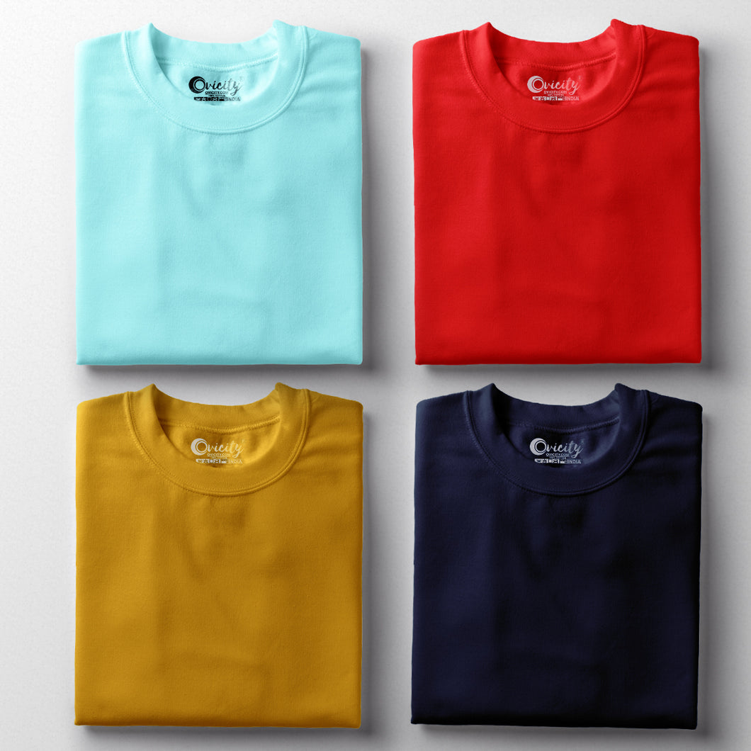 Cool Mint Red Navy Blue Mustard Yellow Half-Sleeve T-Shirt Combo (Pack Of 4)