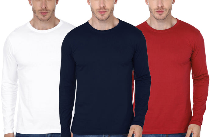 White Red Navy Blue Full-Sleeve T-Shirt Combo (Pack Of 3)