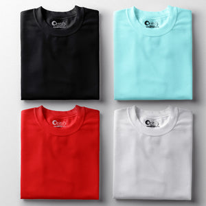 Black White Cool Mint Red Half-Sleeve T-Shirt Combo (Pack Of 4)