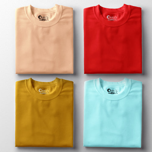 Peach Red Mustard Yellow Cool Mint Half-Sleeve T-Shirt Combo (Pack Of 4)
