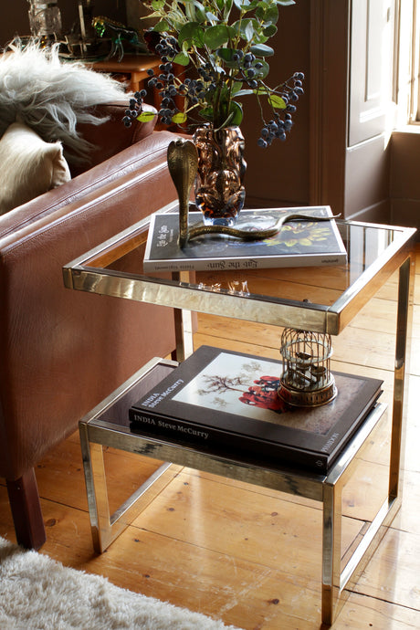 Belgo Chrome 23 Carat Gold G Side Table