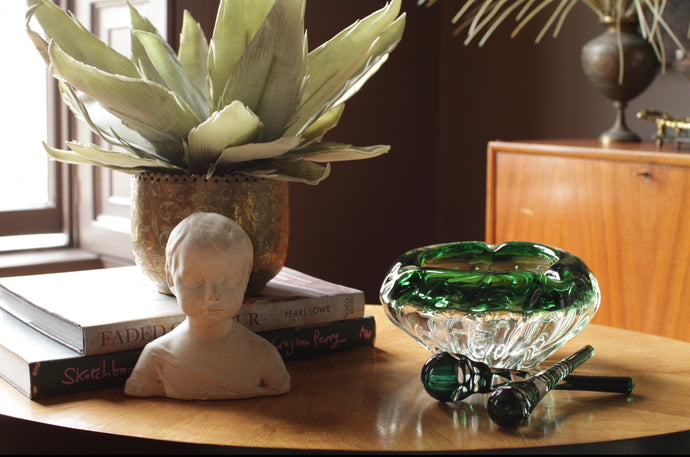 Val St Lambert Crystal 'Stubber' in Green