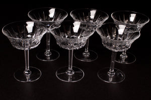 Val St Lambert Crystal Champagne Coupes.