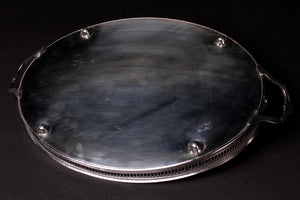 Antique Silver-Plated Tray With Galleried Edge