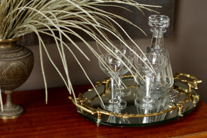 Val St Lambert Decanter and Wine Glasses Set