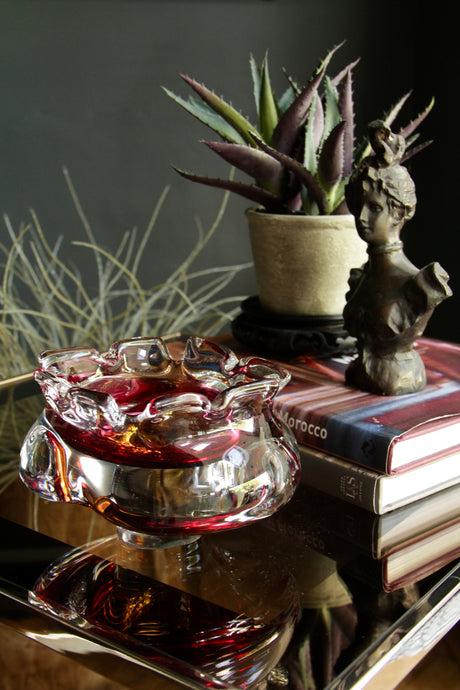 Cranberry and Yellow Art Glass Bowl