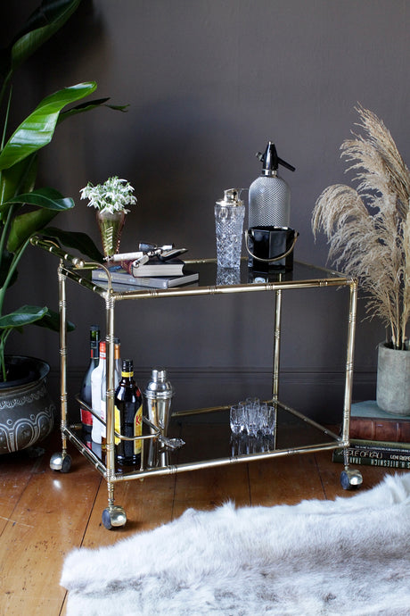 Italian Orsenigo Faux Bamboo Brass Drinks Trolley