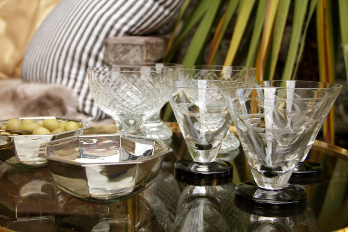 Vintage Etched Wine Glasses