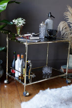 Load image into Gallery viewer, Italian Orsenigo Faux Bamboo Brass Drinks Trolley