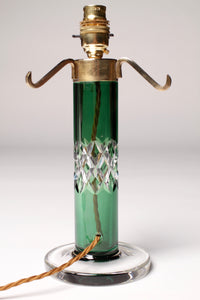 Emerald Green Art Deco Cut Glass Lamp Base