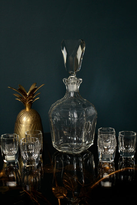 Art Deco Bohemian Czech Decanter and Shot Glasses