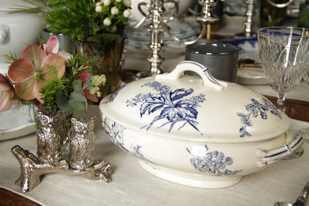 Terrine French White China Decorative Blue Flowers