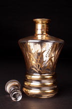 Load image into Gallery viewer, Decanter & Shot Glass Set With Gold Wheat Design