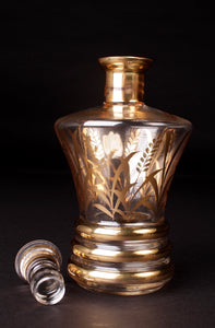 Decanter & Shot Glass Set With Gold Wheat Design